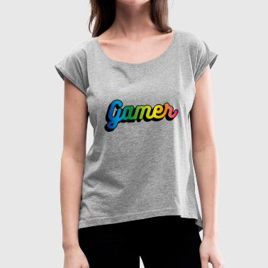 Multicolored Gradient Gamer - Maglietta da donna con risvolti
