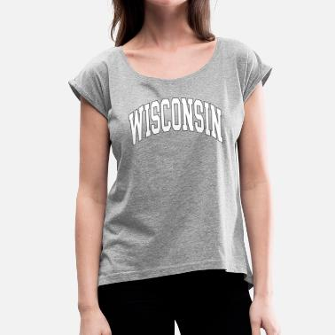Wisconsin Wisconsin Graphic Russell Athletic Wisconsin - T-shirt à manches retroussées Femme