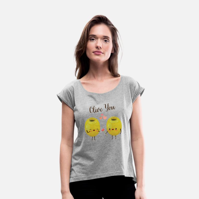 Slogan T-Shirts - Olive You - Cute Valentines Day Couple - Women's Rolled Sleeve T-Shirt heather grey