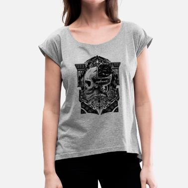 Skull and Heart - Women's T-Shirt with rolled up sleeves