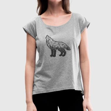 Wanderlust Wolf black - Women's T-Shirt with rolled up sleeves