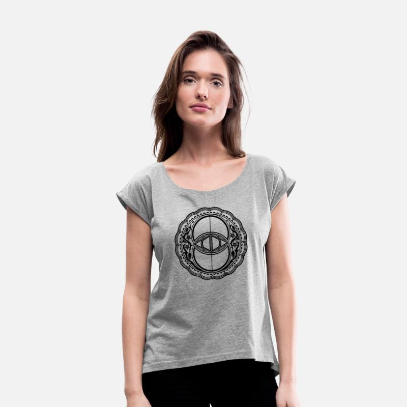 Spiritual T-Shirts - Vesica Piscis, Chalice Well, Sacred Geometry - Women's Rolled Sleeve T-Shirt heather grey