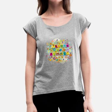 Vneck Colours of summer Flower Power Sommer Blumenwiese - Frauen T-Shirt mit gerollten Ärmeln