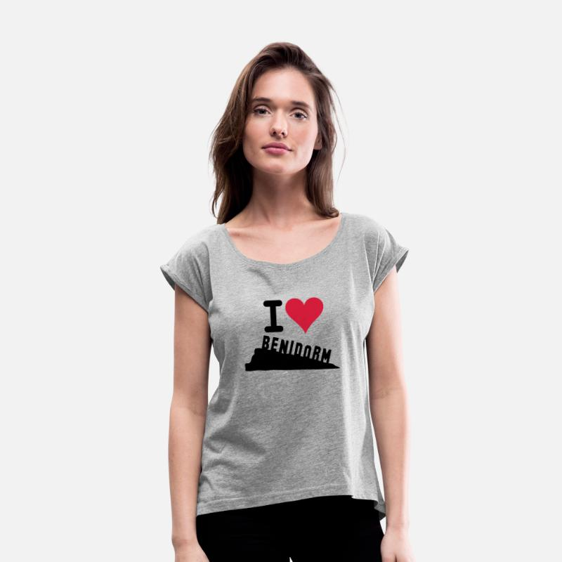 Spain T-Shirts - I LOVE BENIDORM - Women's Rolled Sleeve T-Shirt heather grey