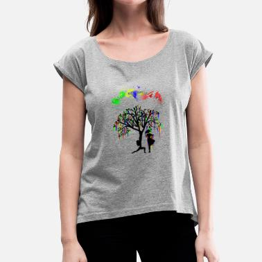 Color Your Life Color up your life - Frauen T-Shirt mit gerollten Ärmeln