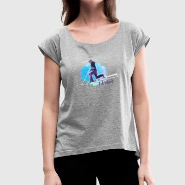 Telemark Watercolor Style - Women's T-Shirt with rolled up sleeves