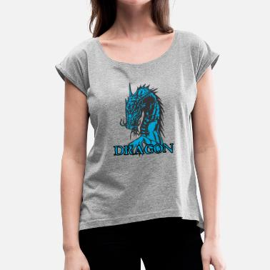 Agri agry looking dragon - Women's T-Shirt with rolled up sleeves
