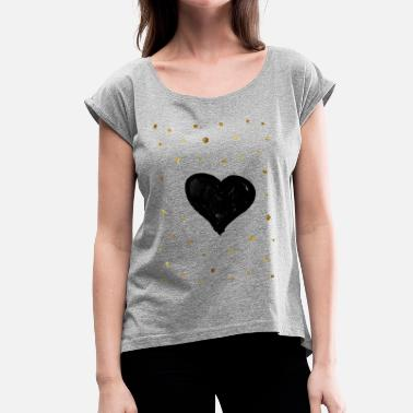 valentine heart gold dots - Women's T-Shirt with rolled up sleeves