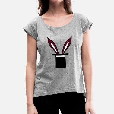 Magician Rabbits rabbit rabbit magician magician cylinder hat trick - Women's T-Shirt with rolled up sleeves