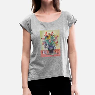 Vase Fantastic vase - Women's T-Shirt with rolled up sleeves