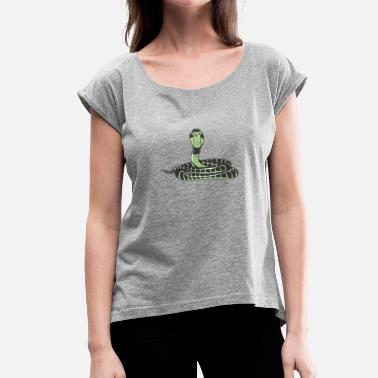 Erection Erect poisonous king Cobra poisonous snake - Women's T-Shirt with rolled up sleeves