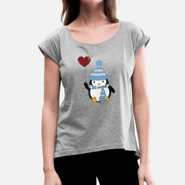 Amour Pingouin amoureux - T-shirt à manches retroussées Femme dcdbe209b818