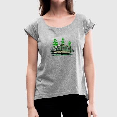Pop Up Camping Pop Up Trailer - Women's T-Shirt with rolled up sleeves
