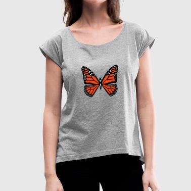 Snowy butterfly - Women's T-Shirt with rolled up sleeves