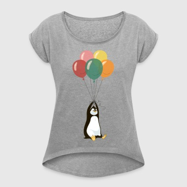 Flying Penguin - Women's T-shirt with rolled up sleeves