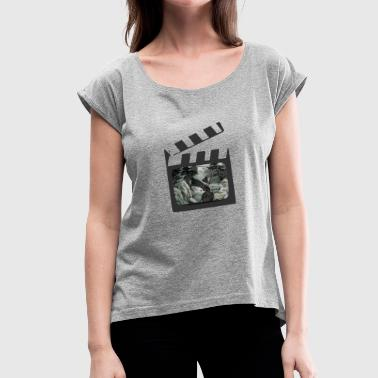 Clapperboard PANDA ACTION - Women's T-Shirt with rolled up sleeves