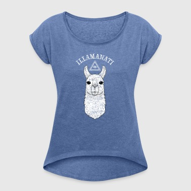 Illamanati | Cool Llama Design with Triangle - Women's T-shirt with rolled up sleeves