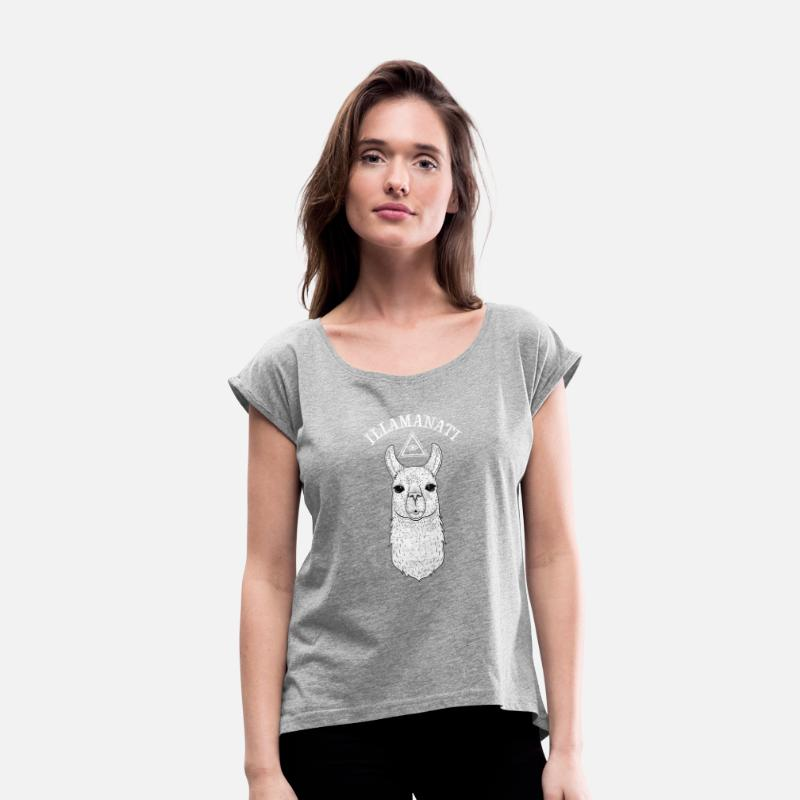Bestsellers Q4 2018 T-Shirts - Illamanati | Cool Llama Design with Triangle - Women's Rolled Sleeve T-Shirt heather grey