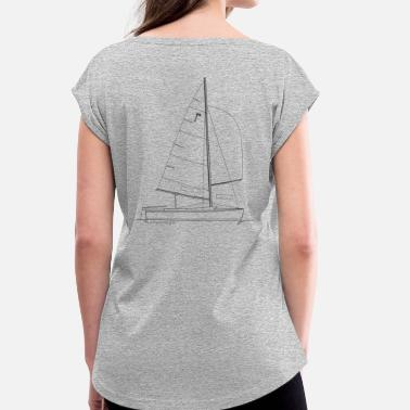 Graphic Pirates Graphic of a pirate dinghy for shirts & mugs - Women's T-Shirt with rolled up sleeves
