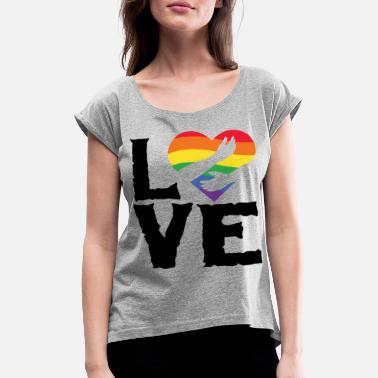 Community Love lgbt rainbow heart - Women's Rolled Sleeve T-Shirt