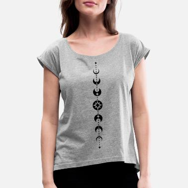 Phase Totem with moon phases and stars. Black. - Women's Rolled Sleeve T-Shirt
