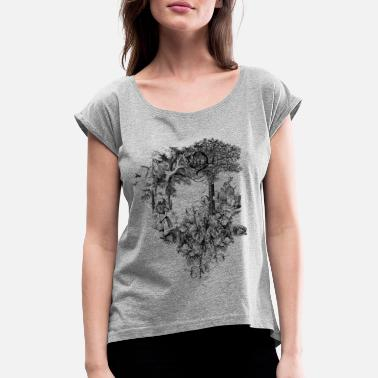 Alice Alice in Wonderland-Collage - Frauen T-Shirt mit gerollten Ärmeln