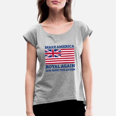 Isabel Ii Funny Red Blue America Make Again Graphic Again - Camiseta con manga enrollada mujer