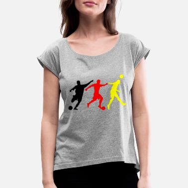 Black Gold Football Black Red Gold - Women's T-Shirt with rolled up sleeves