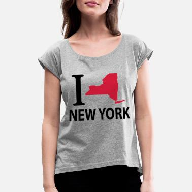 I Love New York I love New York - Frauen T-Shirt mit gerollten Ärmeln