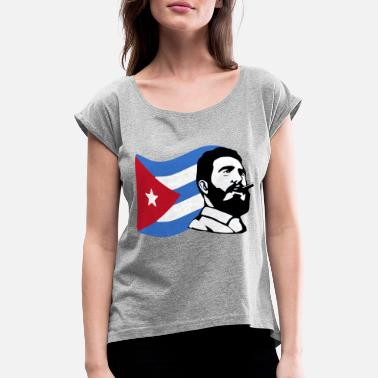Castro fidel castro stencil - Women's T-Shirt with rolled up sleeves