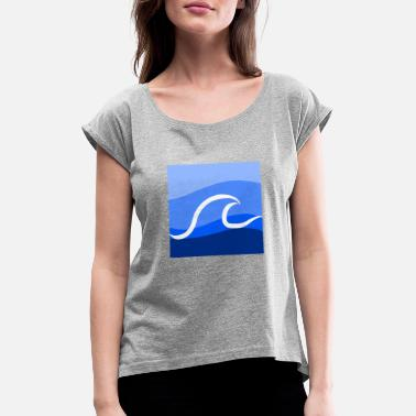 Blue blue wave blue wave - Women's Rolled Sleeve T-Shirt