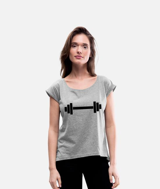 Weights T-Shirts - dumbbell - Women's Rolled Sleeve T-Shirt heather grey