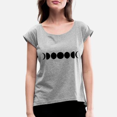 Phase night symbol moon live crescent full moon sickle - Women's Rolled Sleeve T-Shirt