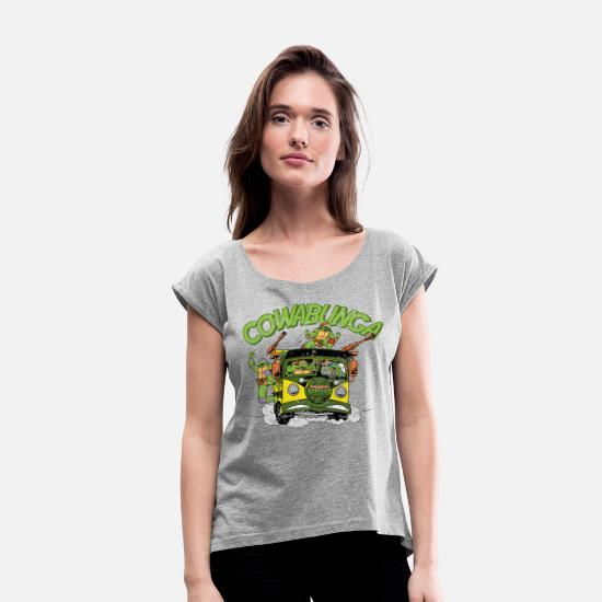 Mutant T-Shirts - TMNT Turtles Cowabunga Bus Tour - Women's Rolled Sleeve T-Shirt heather grey