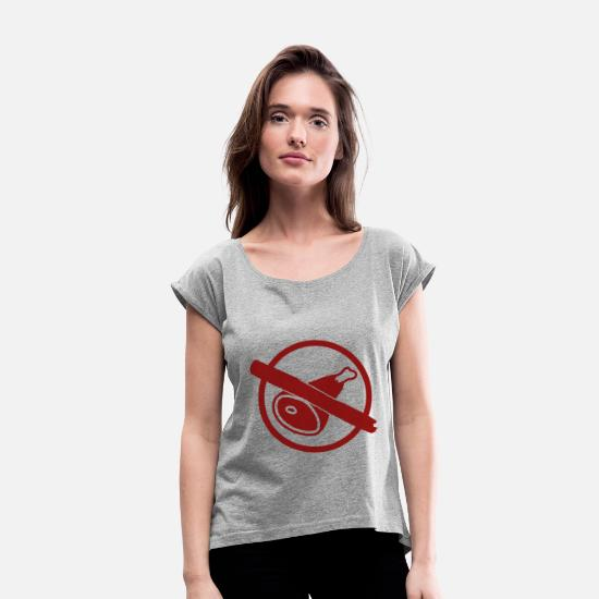 Nature T-Shirts - Vegan no meat - vegan no meat - Women's Rolled Sleeve T-Shirt heather grey