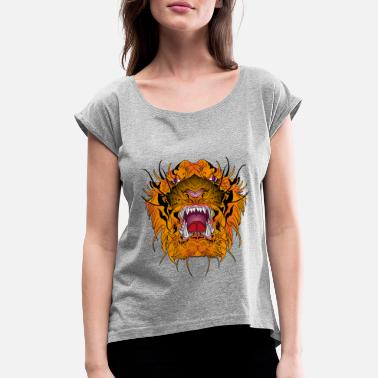 Tiger Head Tiger Tiger Head - Women's Rolled Sleeve T-Shirt