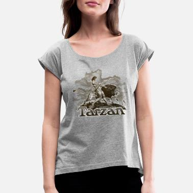Wolfskind Tarzan and a wild lion - Women's Rolled Sleeve T-Shirt