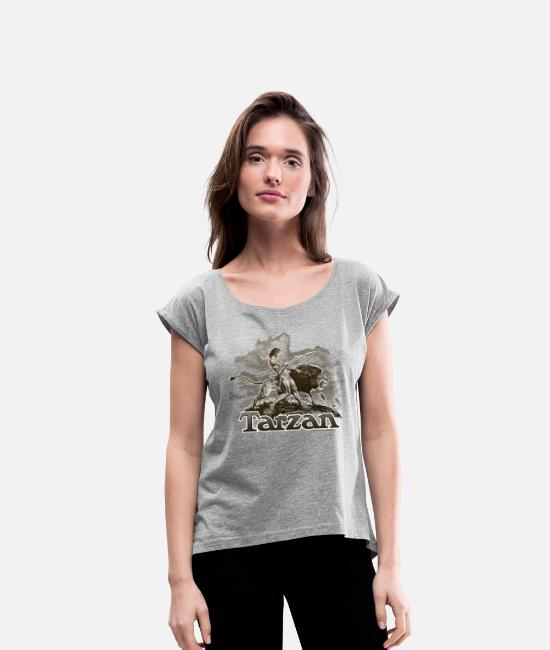 Friendship T-Shirts - Tarzan and a wild lion - Women's Rolled Sleeve T-Shirt heather grey