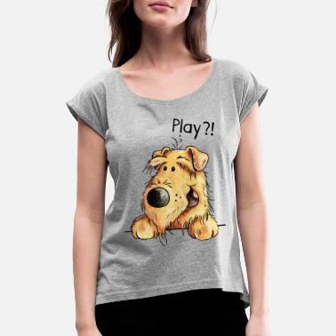 Cute Pets Airedale Terrier - Dog - Cartoon - Gift Dogs - Women's Rolled Sleeve T-Shirt
