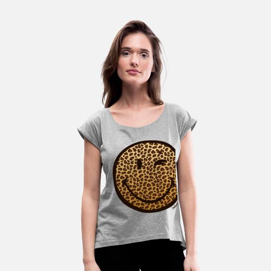 Officialbrands T-Shirts - SmileyWorld Leoprint Face - Women's Rolled Sleeve T-Shirt heather grey