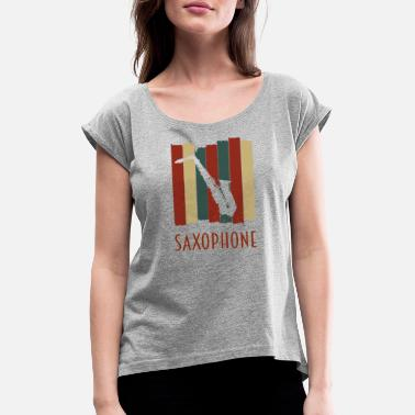 Saxeophonist saxophone retro tape sample - Women's Rolled Sleeve T-Shirt