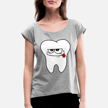 Orthodontics Dental office logo tooth - Women's Rolled Sleeve T-Shirt