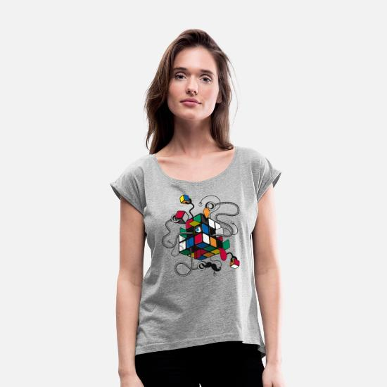 80s T-Shirts - Rubik's Cube Robot Style - Women's Rolled Sleeve T-Shirt heather grey