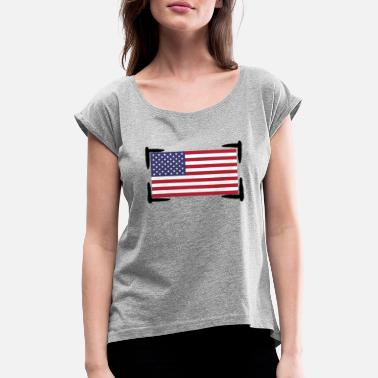 American American Flag - Women's Rolled Sleeve T-Shirt