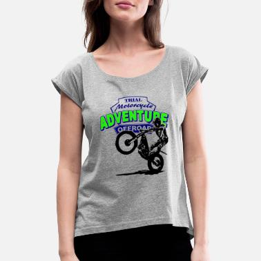 Motorcycle Trial Trial - Women's Rolled Sleeve T-Shirt
