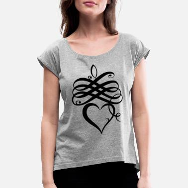 Weekenden Real Love Calligraphy Heart Weekend Planer - T-shirt med rulleærmer dame