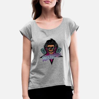 ca4ebd72ec085 Calavera Rockabilly Rockabilly para siempre - Camiseta con manga enrollada  mujer