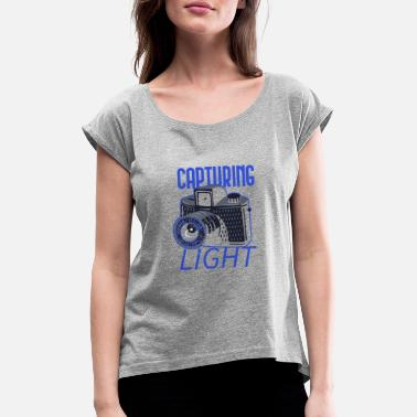 Slr Camera Photography camera SLR photographer - Women's Rolled Sleeve T-Shirt
