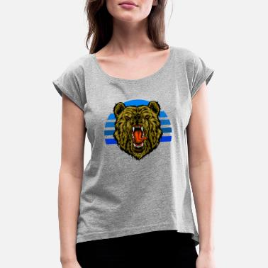Grizzly bear sunset - Women's Rolled Sleeve T-Shirt