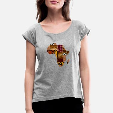 Map Africa Map Animal Skin Patterns - Women's Rolled Sleeve T-Shirt